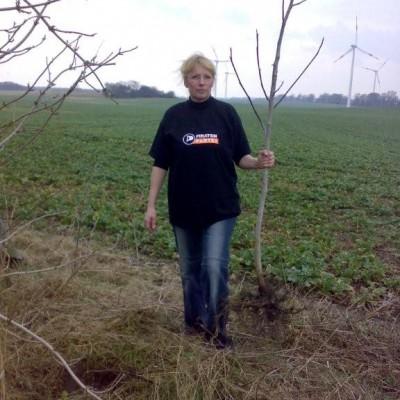 Petra Wirth, (kommissarische) stellvertretende Vorsitzende des KV MOL pflanzt einen Baum in Herzberg.